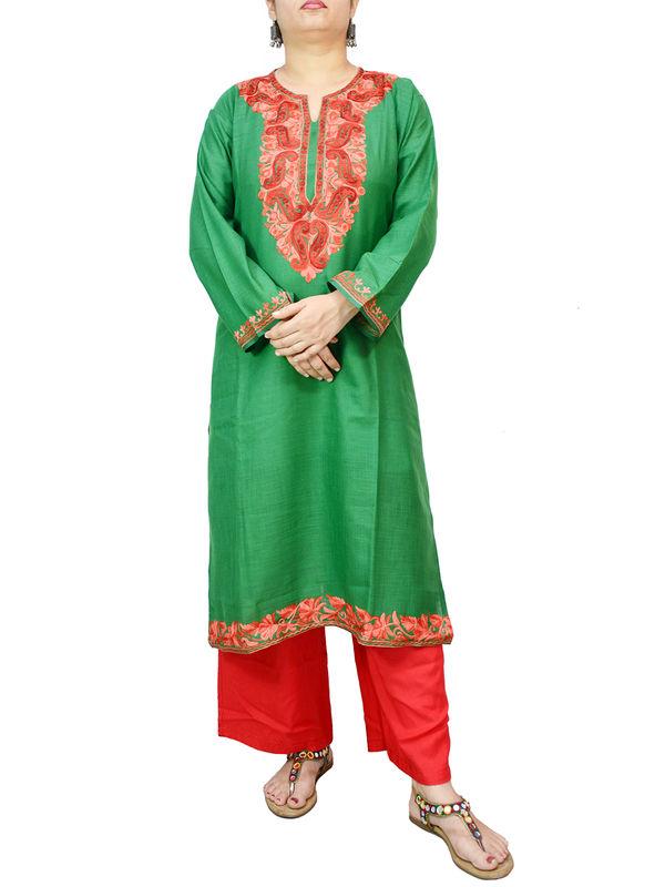 Kashmiri Cotton Green Embroidered Kurta