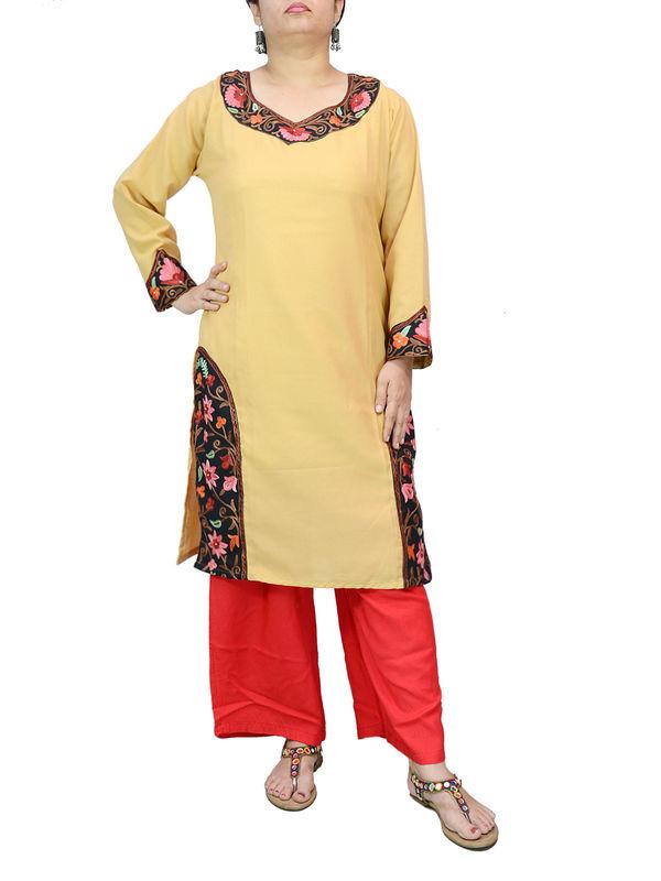 Kashmiri Cotton Tan Color Embroidered Kurta