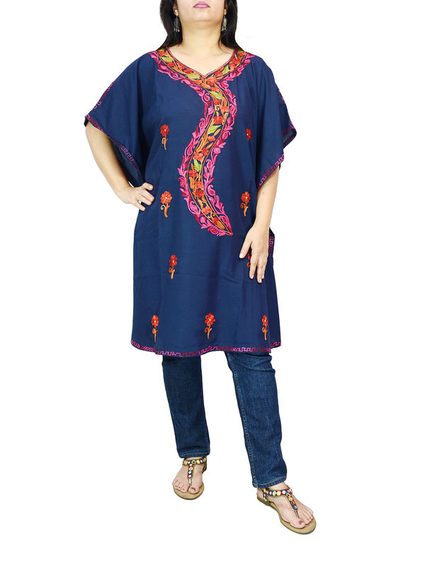 Kashmiri Navy Blue Cambric Cotton Traditionally Embroidered Kaftan