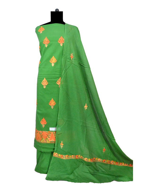 Kashmiri Pure Cotton Embroidered Green Suit With Dupatta