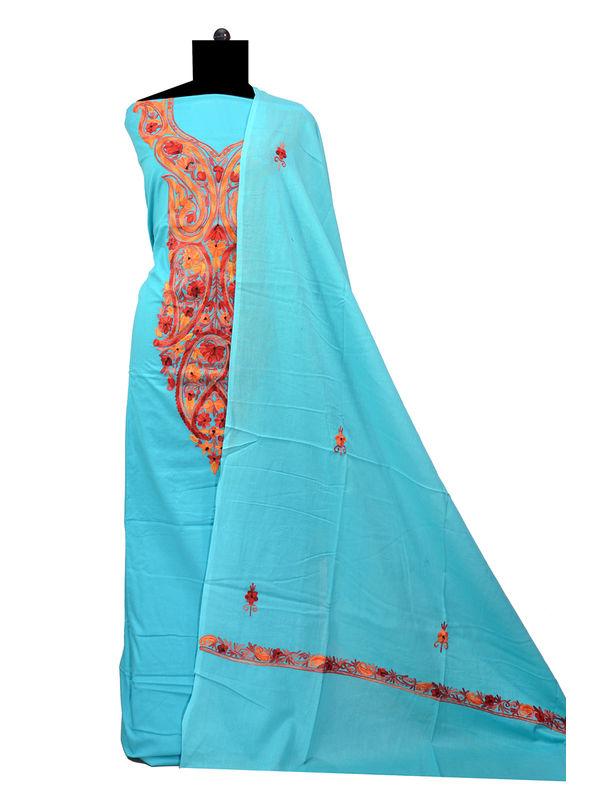 Kashmiri Pure Cotton Neck Embroidered Aqua Blue Suit With Dupatta