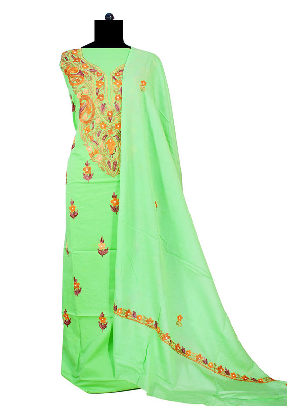 Kashmiri Pure Cotton Parrot Green Embroidered Suit With Dupatta