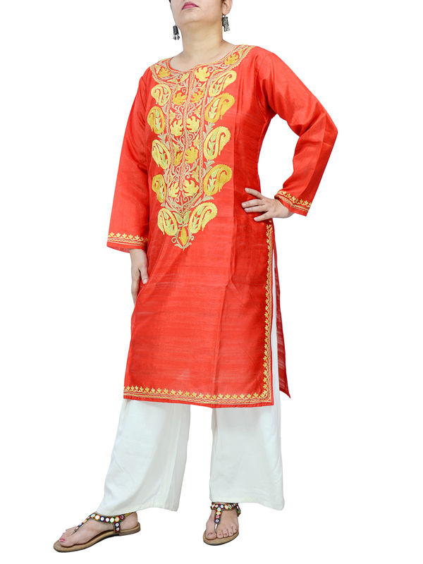 Kashmiri Red Color Silk Embroidered Kurta