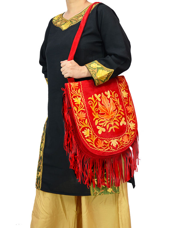 Kashmiri Red Multi Color Embroidered Suede Shoulder Bag