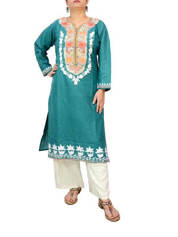 Kashmiri Silk Sea Green Color Embroidered Kurta