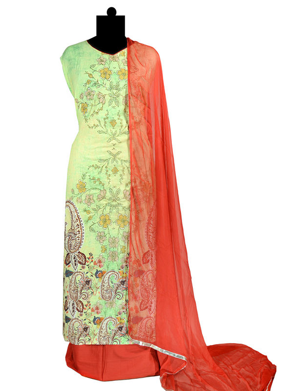 Zari Embroidered Cotton Green Red Formal suit With Pure Chiffon Dupatta