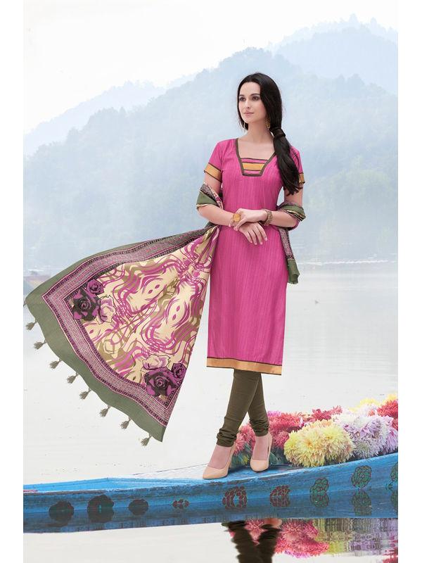 Magenta Color Bhagalpuri Silk Suit With Bhagalpuri Dupatta