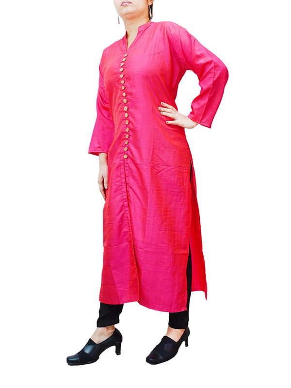 Magenta Silk Kurta With 17 Wooden Buttons With Front Cut