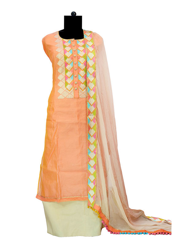 Maheshwari Cotton Embroidered Orange Color Suit With Pure Chiffon Embroidered Dupatta