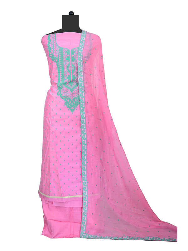 Maheshwari Pink Thread Embroidered Suit With Pure Chiffon Embroidered Dupatta