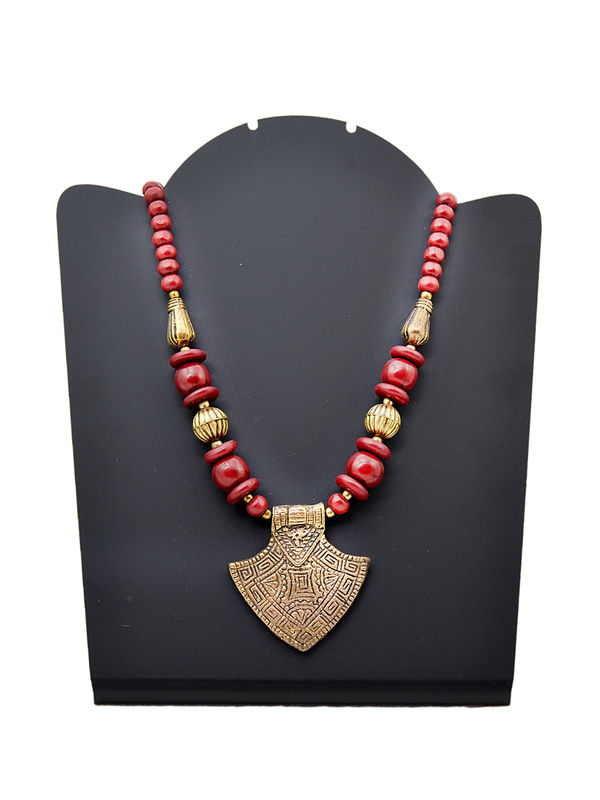 Maroon Beeded Metalic Tribal Necklace