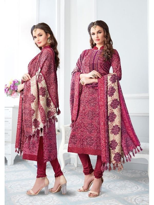 Maroon Floral Color Pashmina Suit With Embroidery