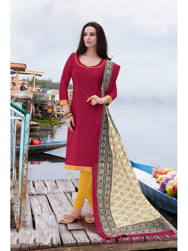 Maroon Yellow Color Bhagalpuri Silk Suit With Bhagalpuri Dupatta