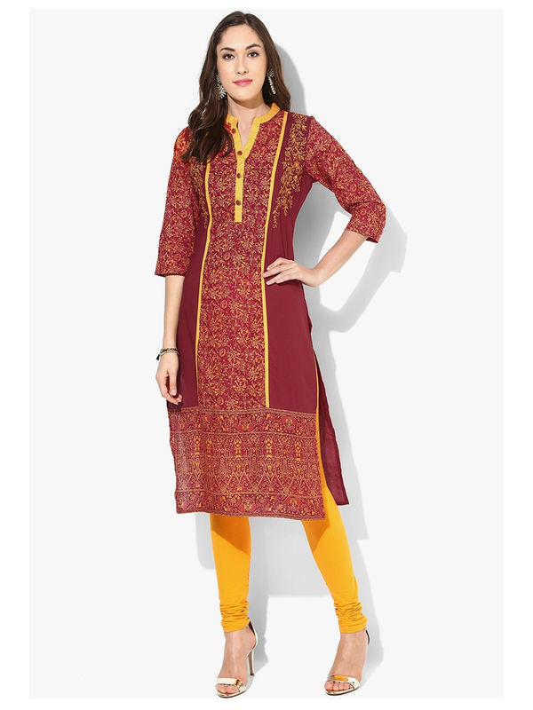 Shree Maroon Yellow Printed Cotton Kurta