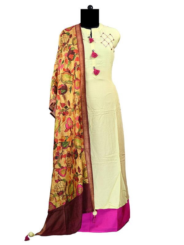 Modal Cotton Suit With Handmade Silk Dupatta
