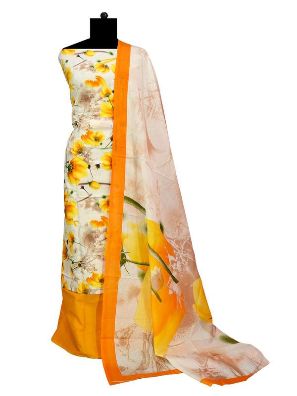 Mulmul Cotton Lemon Yellow Floral Printed Suit