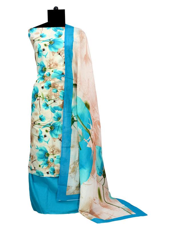 Mulmul Cotton Ocean Blue Floral Printed Suit