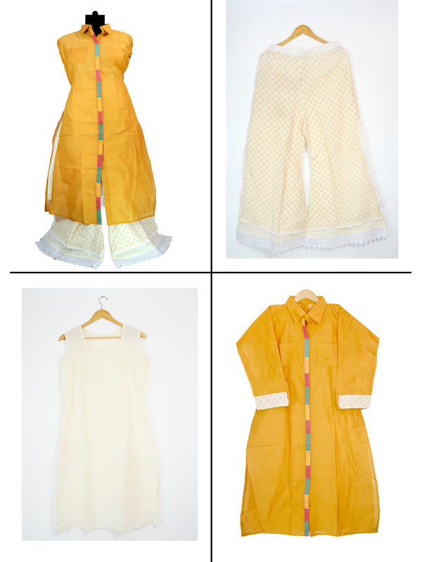 Mustard Cotton Chanderi Suit With Embroidered Palazzo