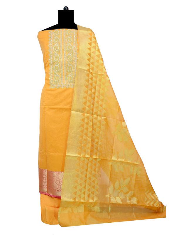 Mustard Embroidered Suit With Banarasi Work Dupatta