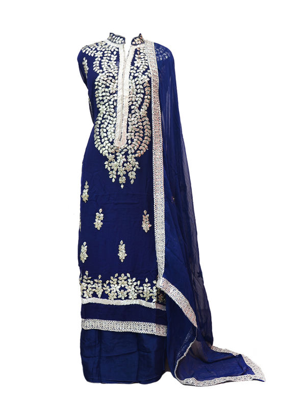 Navy Blue Color Full Gota Patti Embroidered Geogette Semi Stitched Suit
