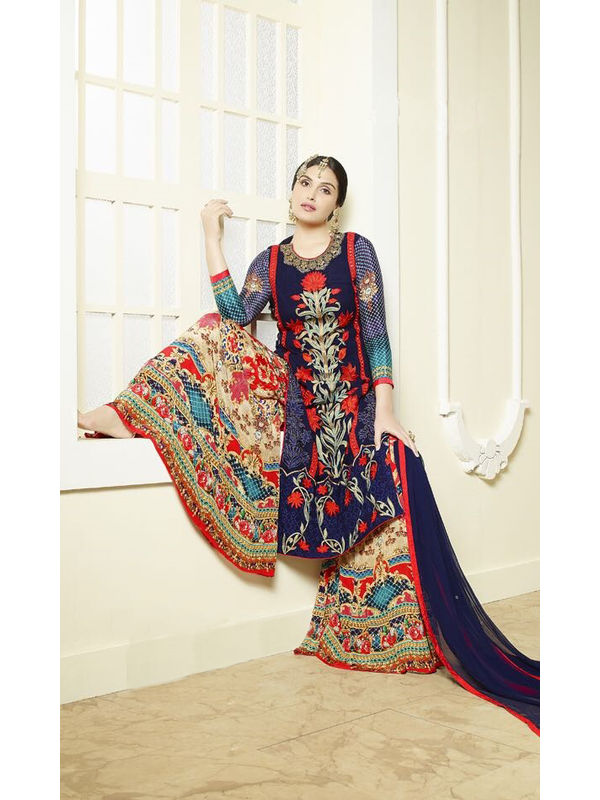 Navy Blue Color Pure Georgette Heavy Embroidered Formal Suit With Dual Bottom