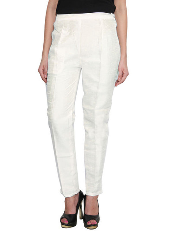 Off White Raw Silk Pant