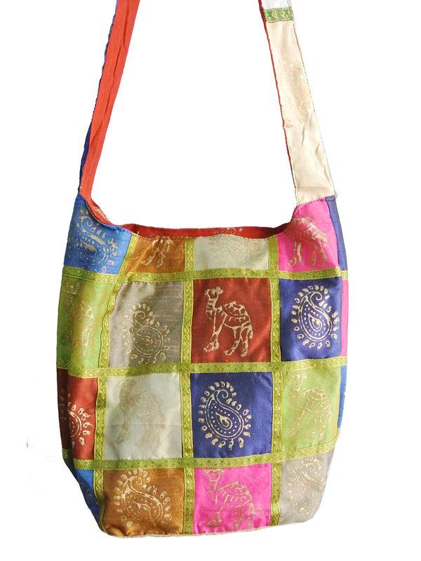 Olive Green Khadi Work Shoulder Bag