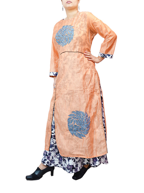 Peach Black Embroidered Chanderi Silk With Built In Skirt Gaoun