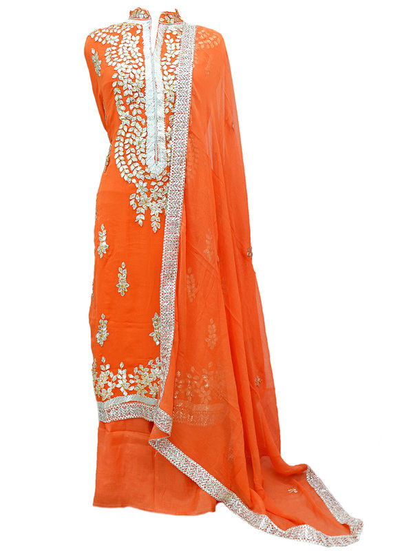 Orange Color Gotta Patti Suit With Gotta Embroidered & Pure Chiffon Dupatta