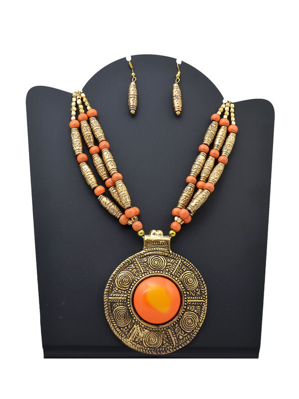 Orange Metal Tribal Stone Necklace
