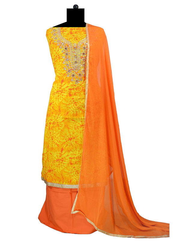 Orange Yellow Gotta Work Cotton Suit With Chiffon Dupatta