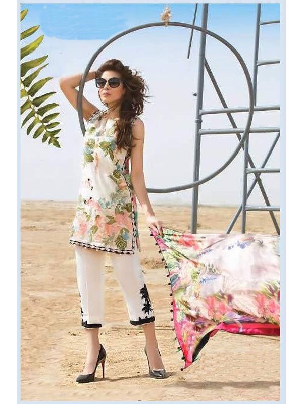 Pakistani Cotton Beige Multi Color Krachi Embroidered Suit