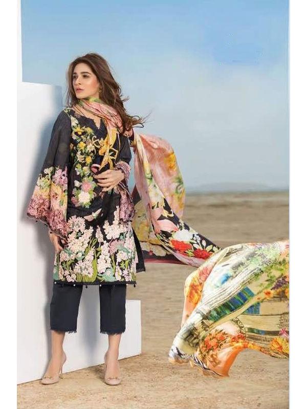Pakistani Cotton Black Multi-Color Krachi Embroidered Suit