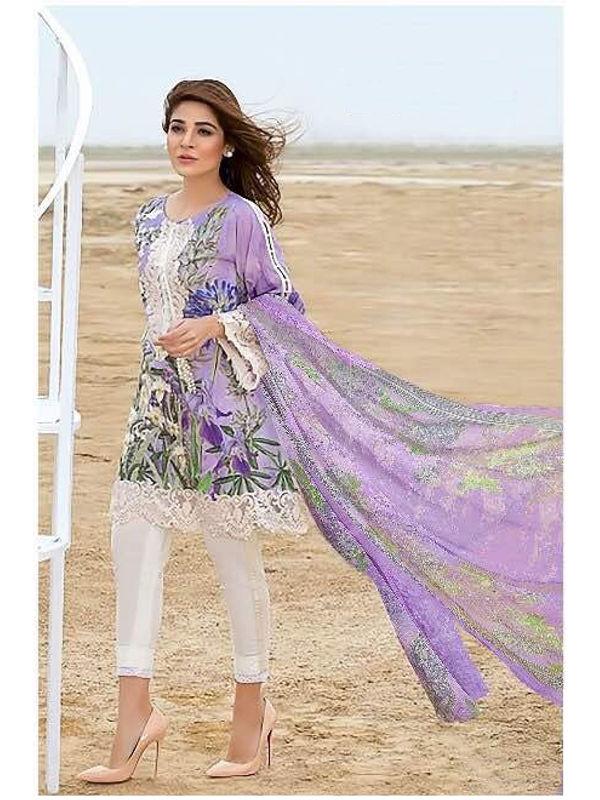 Pakistani Cotton Purple Krachi Embroidered Suit