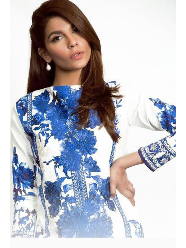 Pakistani Cotton White Blue Krachi Embroidered Suit