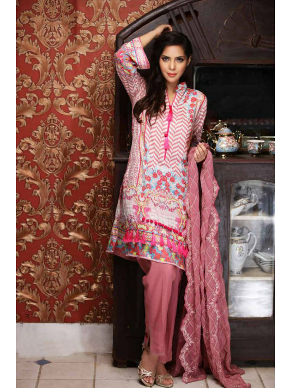 Pakistani Pashmina Peach Magenta Color Embroidered Suit With Shawl