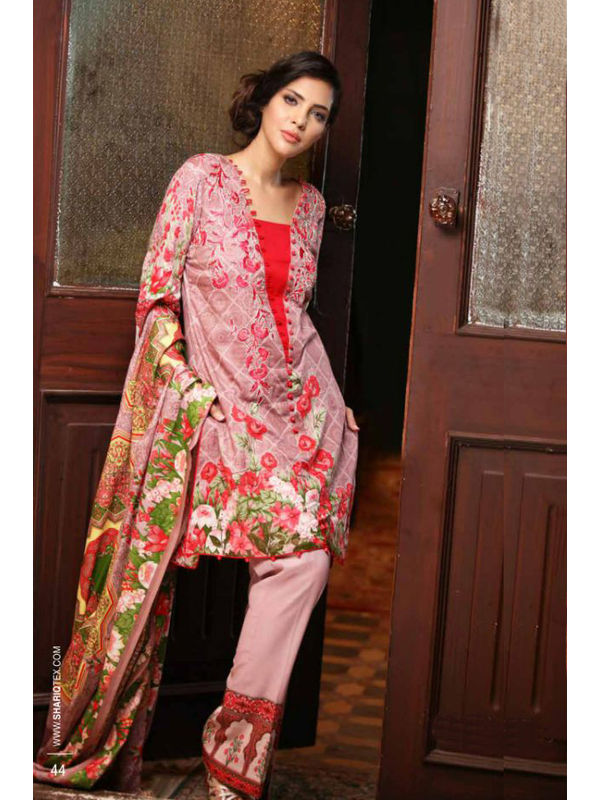 Pakistani Pashmina Peach Red Color Embroidered Suit With Shawl
