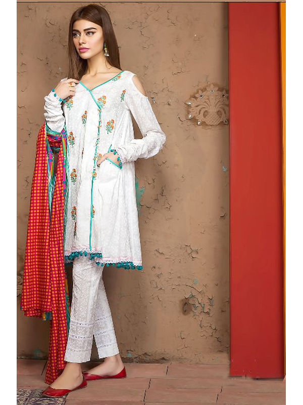 Pakistani Style White Green Color Embroidered Lawn Cotton Suit With Lawn Cotton Dupatta
