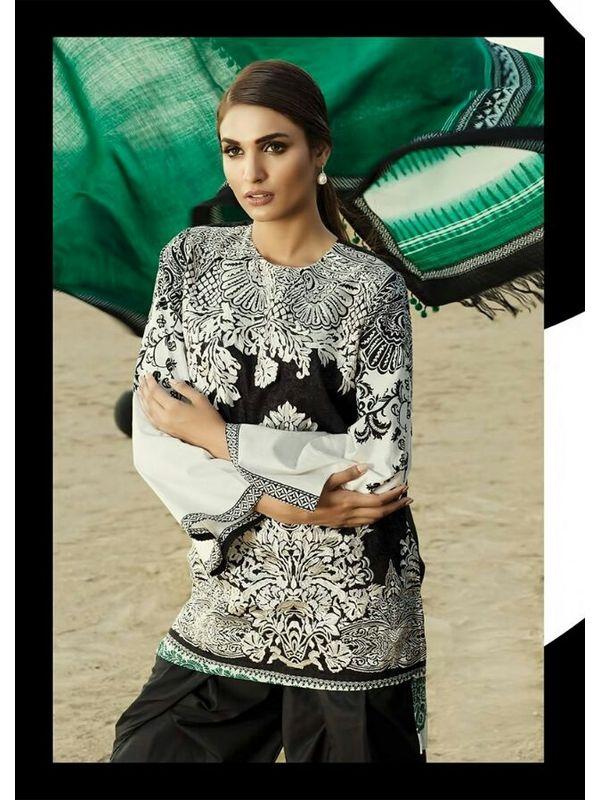 Pashmina Pakistani Black White Color Printed Suit With Pashmina Green Shawl