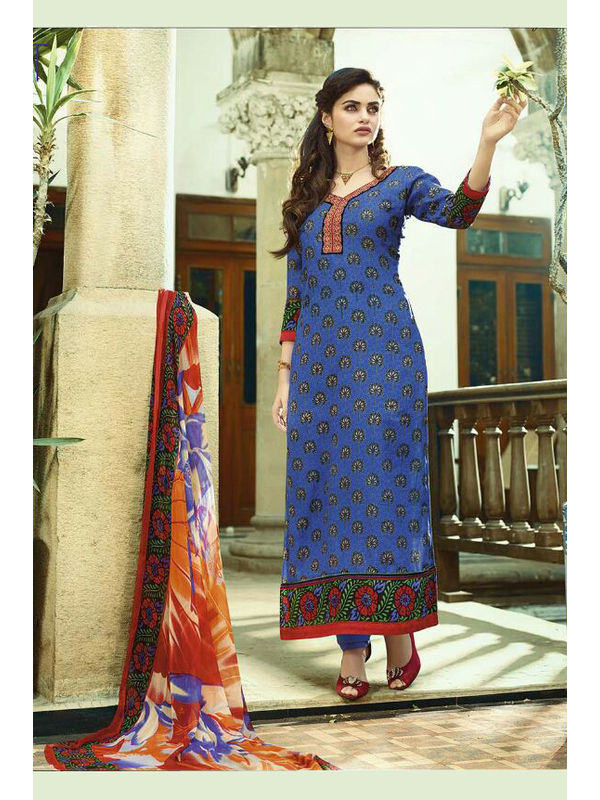 Pashmina Blue Embroidered Suit With Pure Chiffon Dupatta