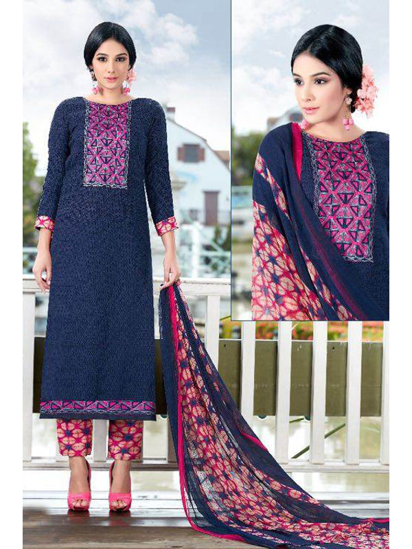 Pashmina Blue Self Printed Suit With Karachi Magenta Embroidery And Printed Dupatta