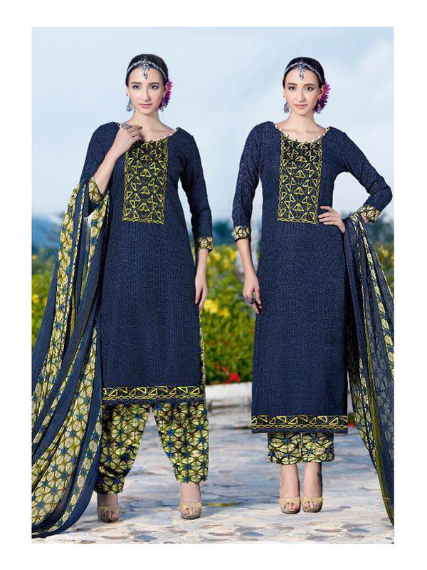 Pashmina Blue Self Printed Suit With Karachi Yellow Embroidery And Printed Dupatta
