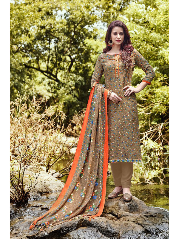 Pashmina Brown Orange Floral Suit With Shawl