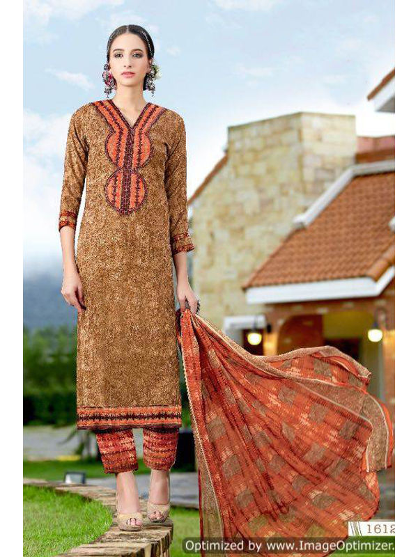 Pashmina Brown Printed Suit With Rust Karachi Embroidery And Printed Dupatta