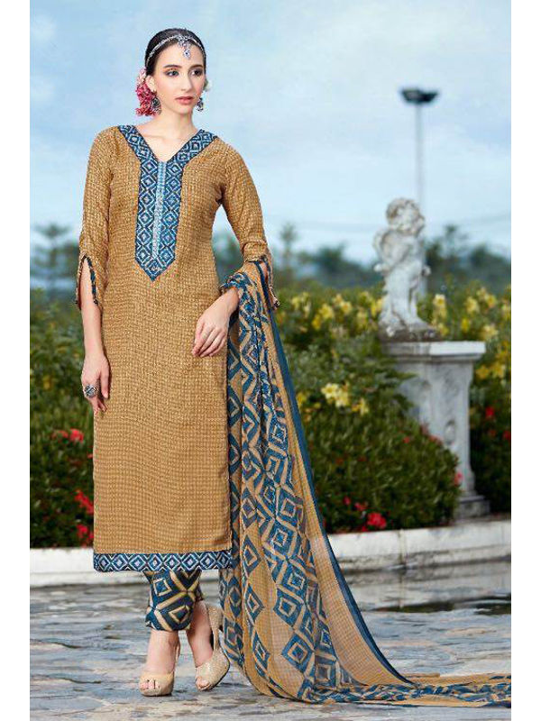 Pashmina Brown Self Printed Suit With Blue Karachi Embroidery And Printed Dupatta