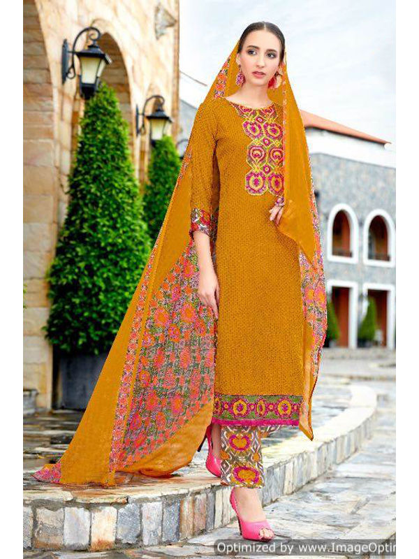 Pashmina Golden Brown Self Printed Suit With Karachi Magenta Embroidery And Printed Dupatta