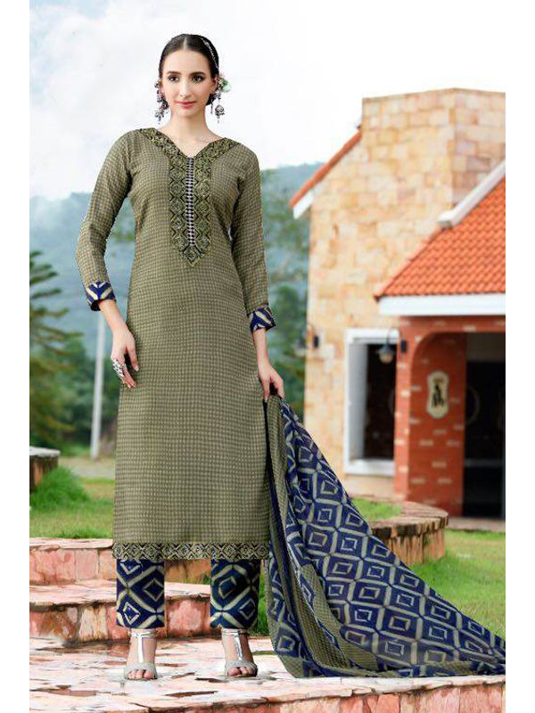 Pashmina Green Self Printed Suit With Karachi Blue Embroidery And Printed Dupatta