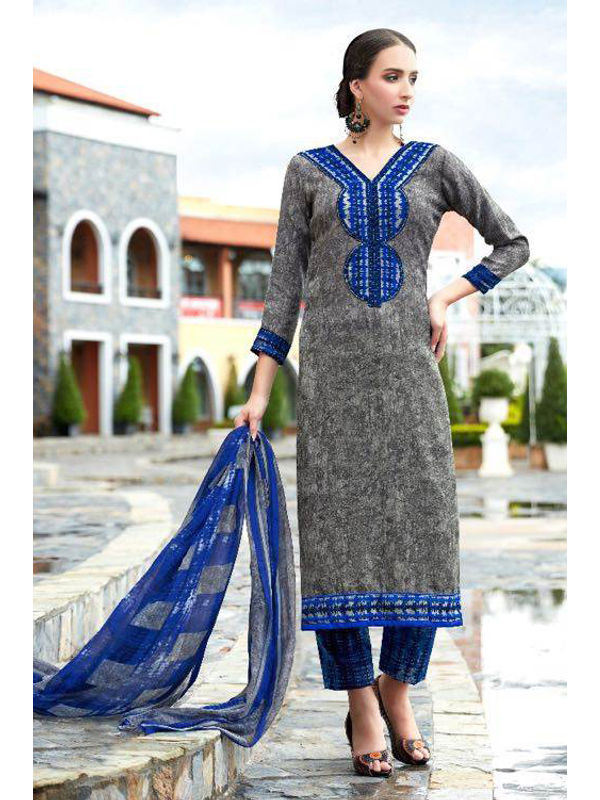 Pashmina Grey Black Printed Suit With Karachi Blue Embroidery And Printed Dupatta