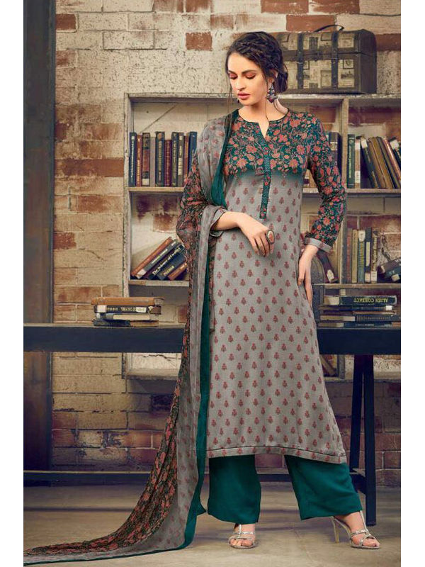 Pashmina Grey Green Floral Suit With Shawl
