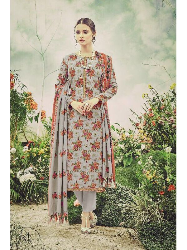 Pashmina Grey Maroon Floral Suit With Shawl